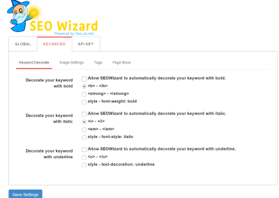 Seo Wizard Advanced Settings